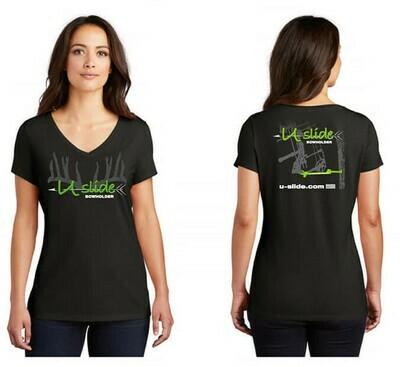 Ladies V Neck - Neon Green Logo