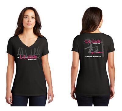 Ladies V Neck - Neon Pink Logo