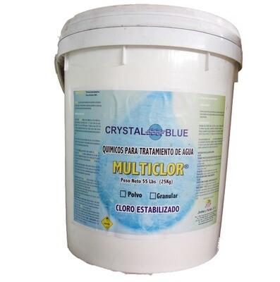 Multiclor en polvo al 90% con estabilizador, cubeta de 55 Lbs.