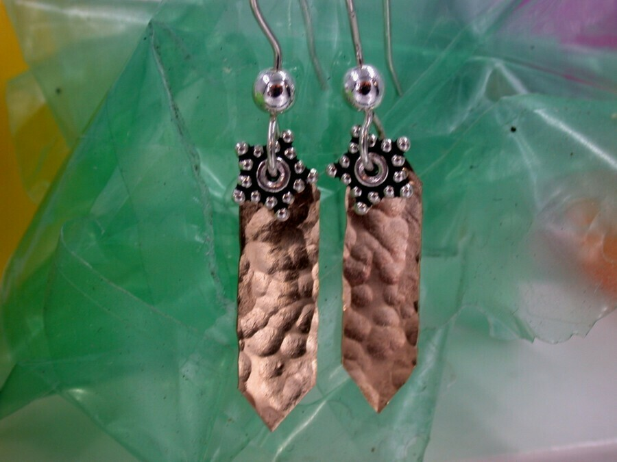 Hammered Brass & Sterling Earrings