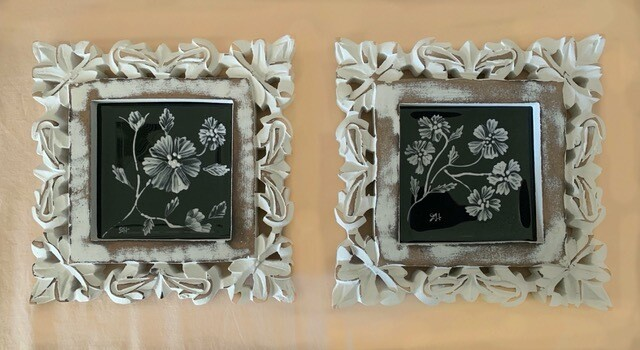 Fused Glass Enamel Painted Blossoms Tiles