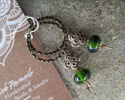 Green Handcrafted Glass & Sterling Earrings