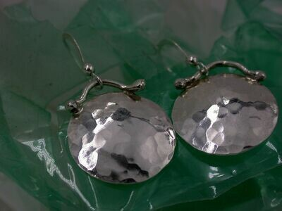 Hammered Sterling Disc Earrings with Curved Top