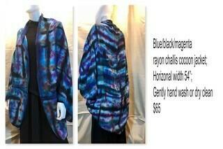 Blue/black/magenta rayon challis cocoon jacket