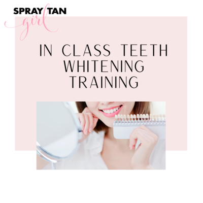 Teeth Whitening Training In Class $479.99 (Deposit $200) balance due day of training.