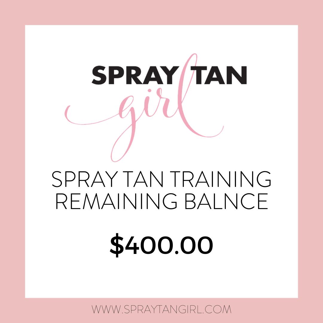 Spray Tan Training Remaining Balance