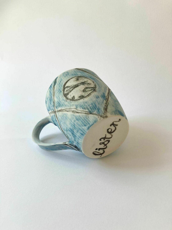 listen - blue patterned cup