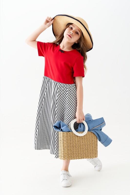 Трехцветное платье-лонг