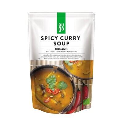 Органический острый карри-суп с кокосовым кремом и грибами шиитаке