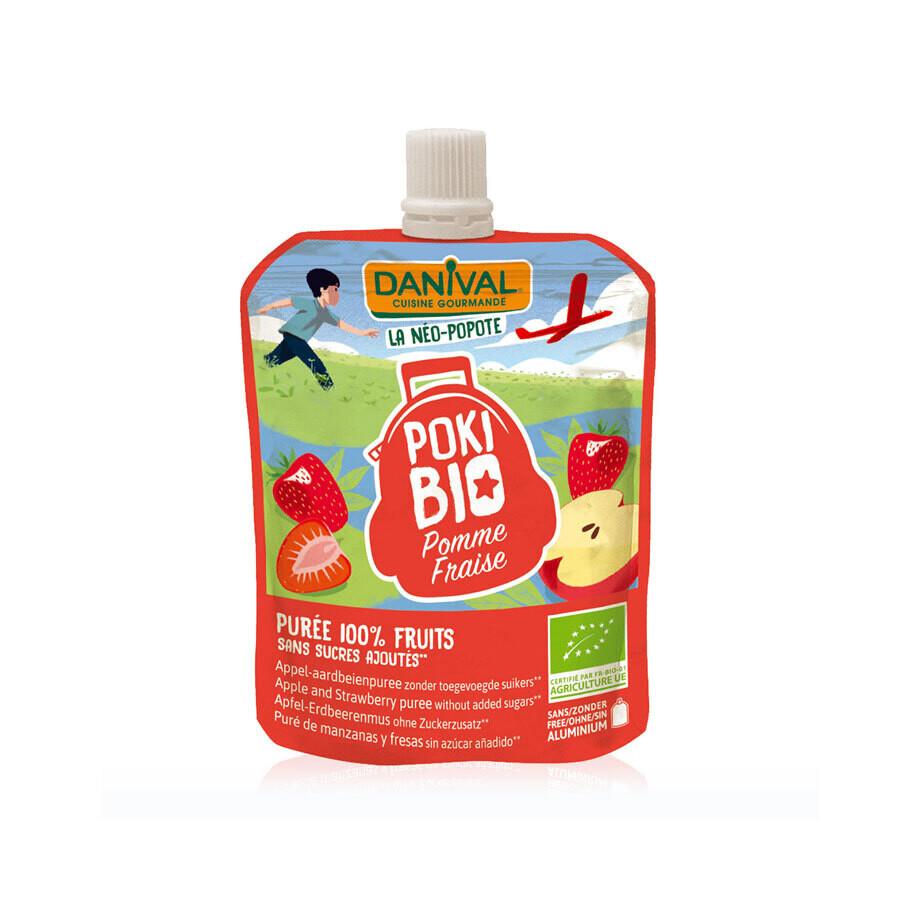 Десерт фруктовый яблоко-клубника Poki Bio