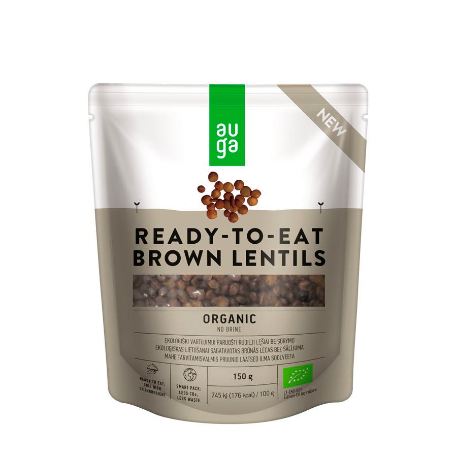 Органическая готовая к употреблению коричневая чечевица без рассола