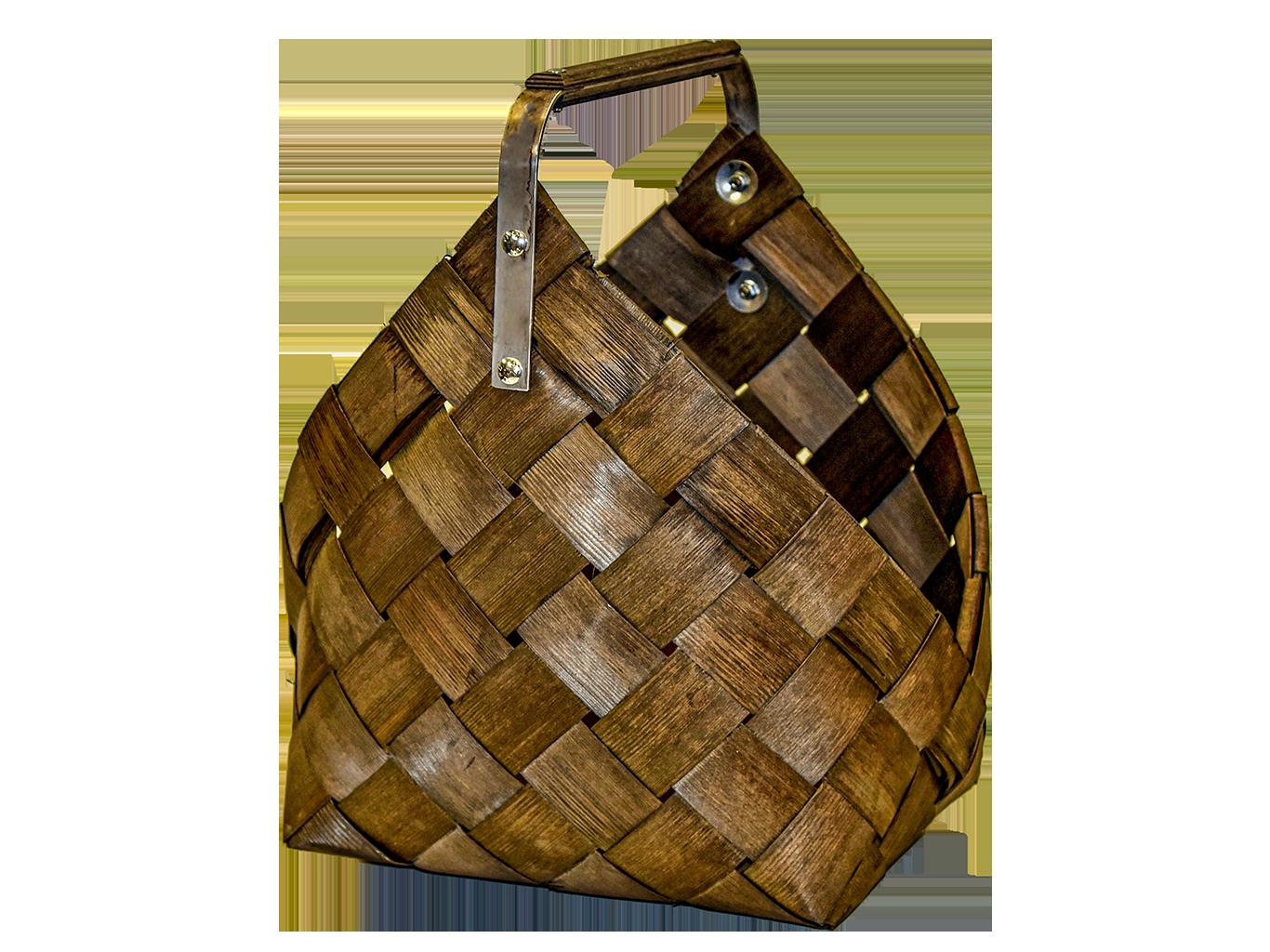 Iso puukori, pärekori metallisangalla, p. 50 cm. Ruskea