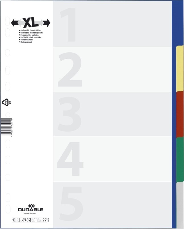 Farbregister Durable PP überbreit 5/10 tlg.