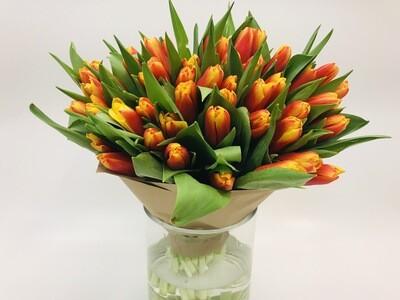 Тюльпаны красно желтые 25 шт