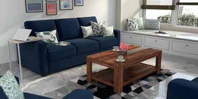 Alpha Sofa Set in Blue Color