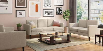 Roco Sofa Set in Beige Color