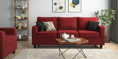 Crystal Sofa Set in Red Color