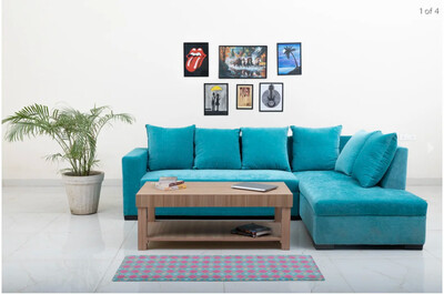 Mia Sectional Sofa Set in Blue Color