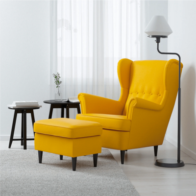Mozo Wing Chair in Yellow Color