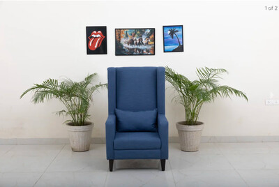 Simson Wing Chair in Blue Color