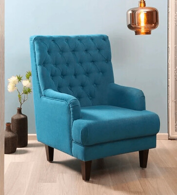 Broze Wing Chair in Blue Color