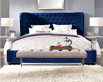 Italino Wing Fabric Bed in Blue Color