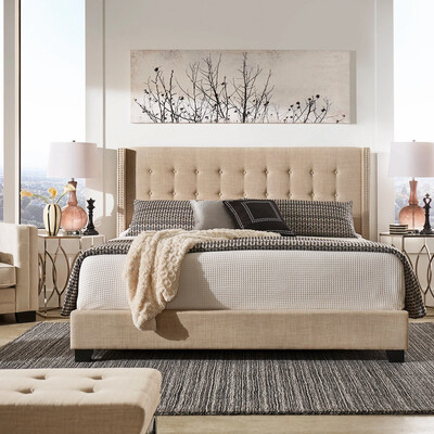 Baltra Wing Fabric Bed in Beige Color