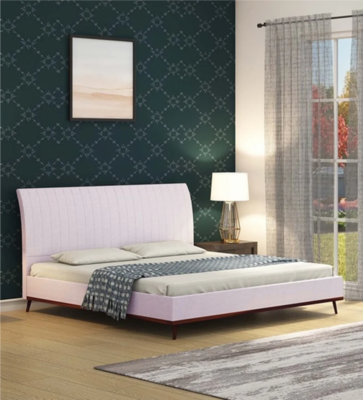 Italian Wing Fabric Bed in Off White Color