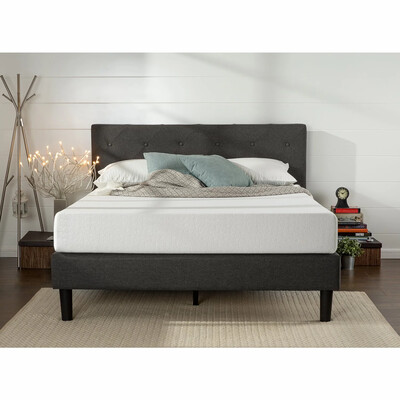 Euro Wing Fabric Bed in Grey Color