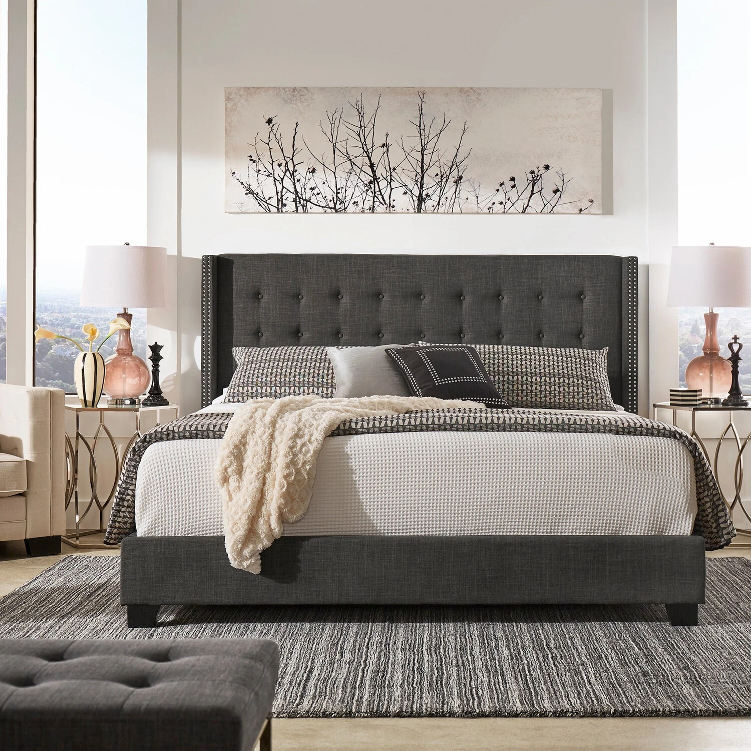 Baltra Wing Fabric Bed in Grey Color
