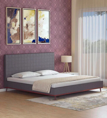 Pihu Wing Fabric Bed in Grey Color