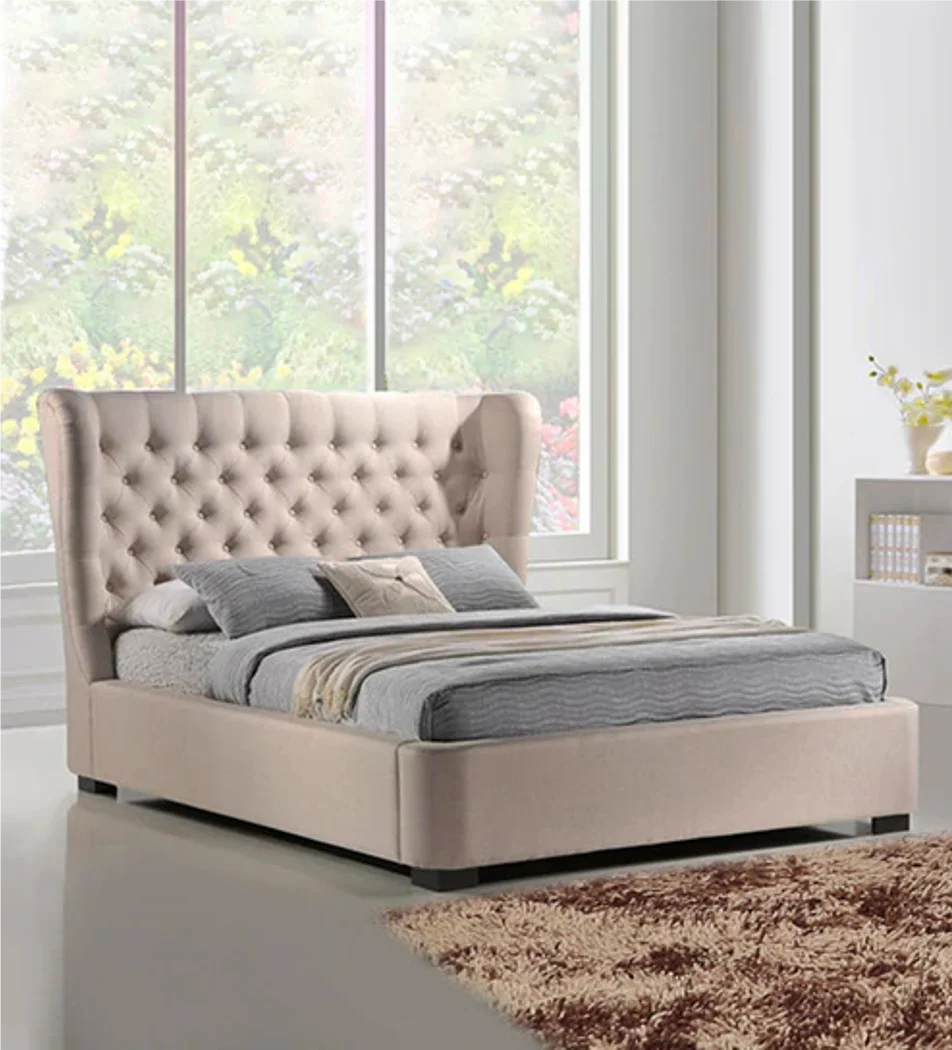 Classic Wing Fabric Bed in Off White Color