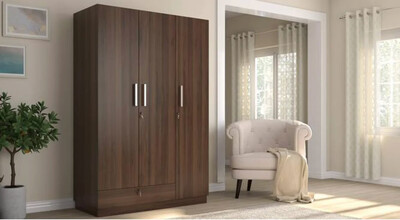 Baccam Three Door Wardrobe in Brown Color