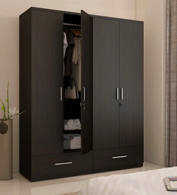Bahubali Four Door Wardrobe in Brown Color