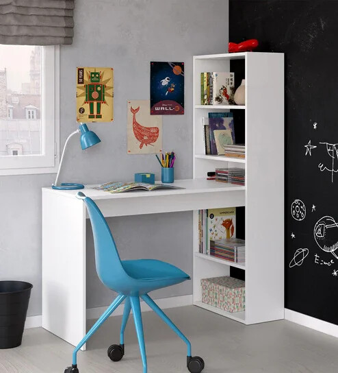 Rosted Study Table in White Color