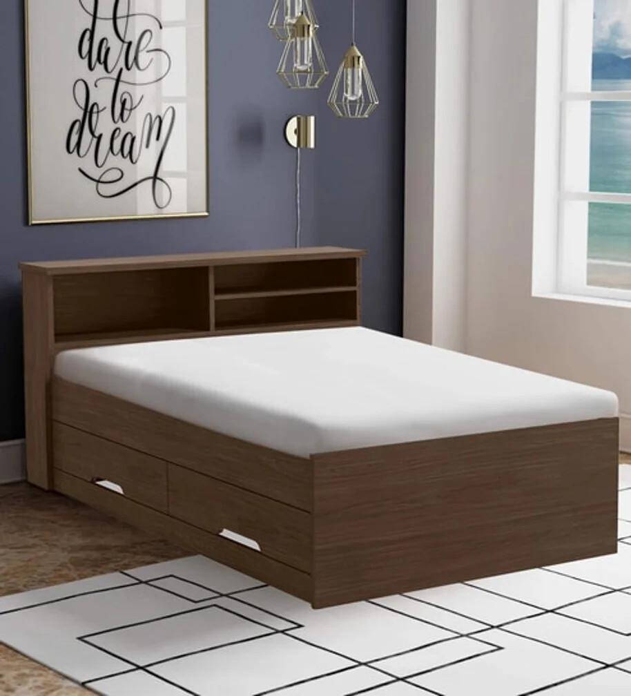 Bahubali Storage Bed in Brown Color