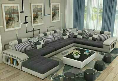 Magnis U Shape Sofa Set in Grey & White Color