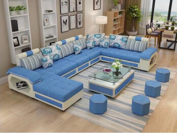 Magnis U Shape Sofa Set in Blue & White Color