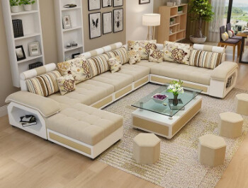 Magnis U Shape Sofa Set in Beige & White Color