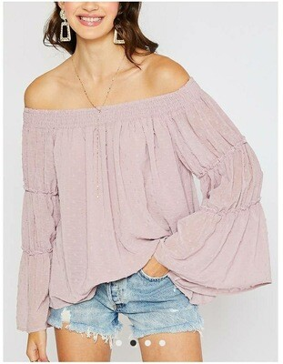 Swiss Dot Off Shoulder - Blush