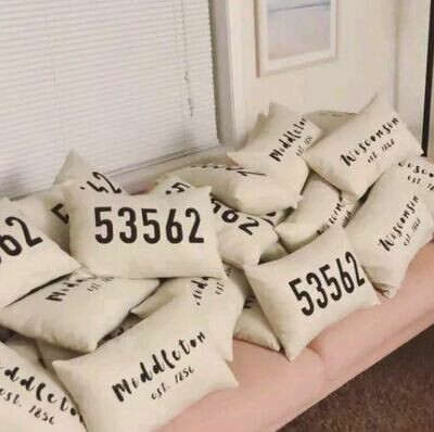 Zip Code Pillow, City Pillow, Custom Pillow