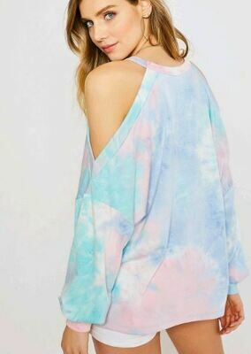 TIE DYE OPEN SHOULDER TOP
