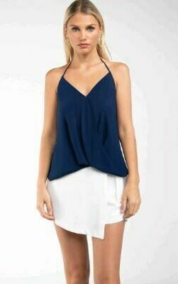 Cross Over Navy Sleeveless Top