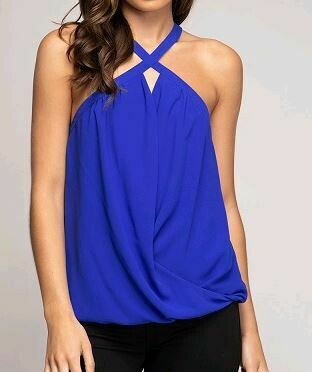 Criss Cross Neck Surplice Top - Capri Blue