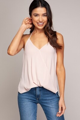 Cross Over Blush Sleeveless Top