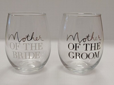 Mothers of the Bride and Groom Stemless Glassware