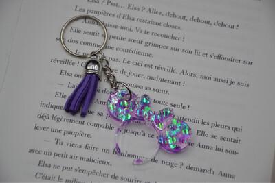 Porte-clefs serre-tête Minnie - paillettes violet