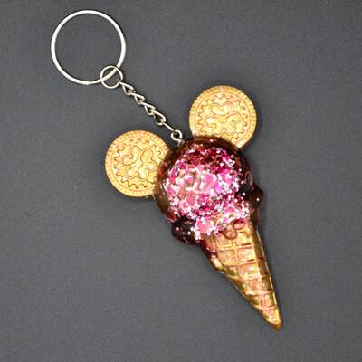 Porte-clefs Mickey Glace - rose paillettes