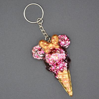 Porte-clefs Minnie Glace - rose paillettes
