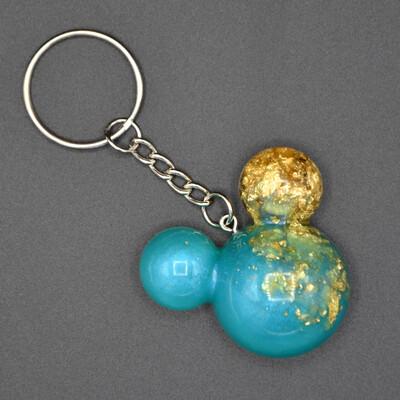 Porte-clefs Mickey - vert d'eau et or